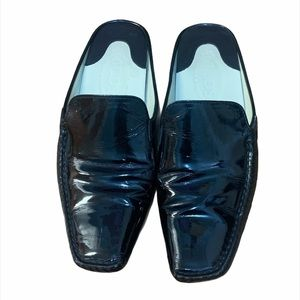 TODS Black Patent Open Back Square Toe Loafers